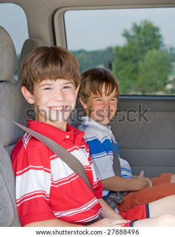 Boys in a Van - stock photo