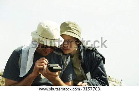 Boys in mountain - stock photo