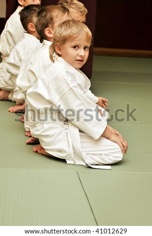 boys in sport hall, they are waitng for competition - stock photo