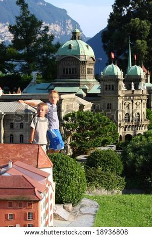 boys in Swiss Miniature - stock photo