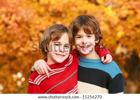 Boys in the Fall - stock photo