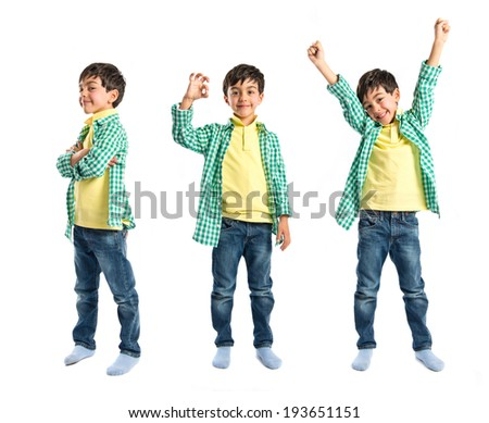 Boys making a victory sign on wooden chair over white background  - stock photo