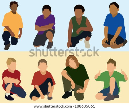 Boys of Different Races Squatting Down - stock photo