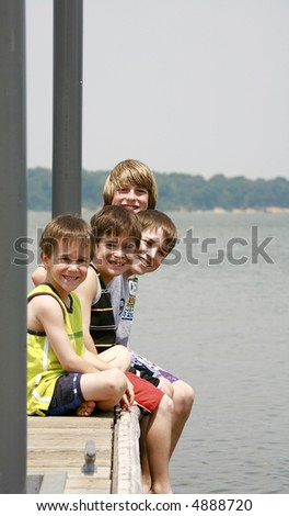 Boys on the Dock - stock photo