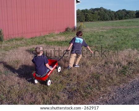 Boys playing - stock photo