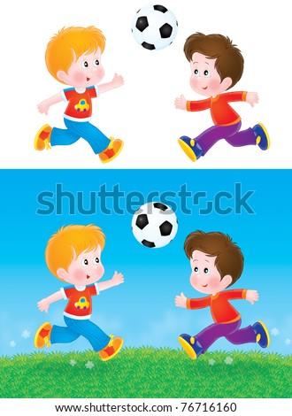 Boys playing football - stock photo