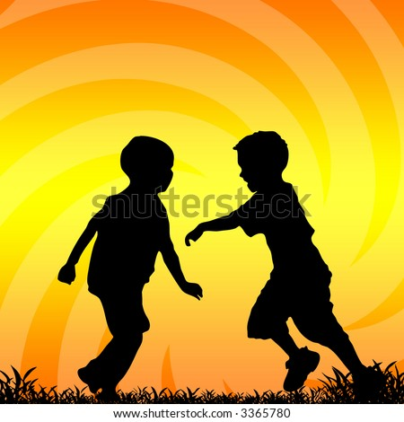 Boys playing in the sunset - stock photo