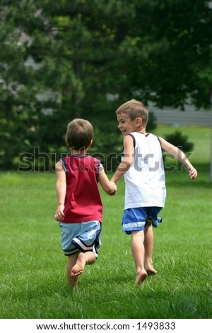 Boys Running - stock photo