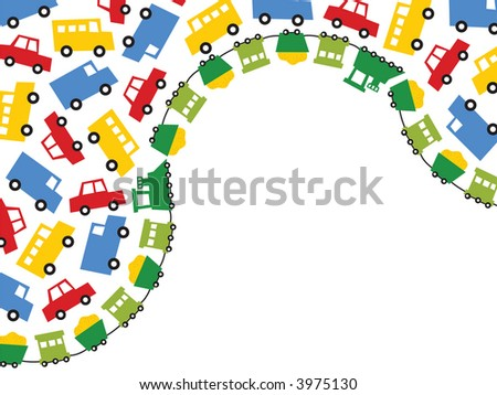 boys toys in primary colors (jpeg) - illustrated background with lots of copy space - stock photo