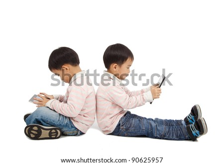 boys using touchscreen tablet PC  and isolated on white - stock photo