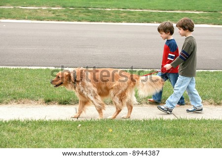 Boys Walking the dog - stock photo