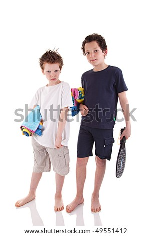 boys with the beach towel - stock photo