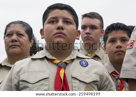 Boyscout faces of all age at 2014 Memorial Day Event, Los Angeles National Cemetery, California, USA, 05.24.2014 - stock photo