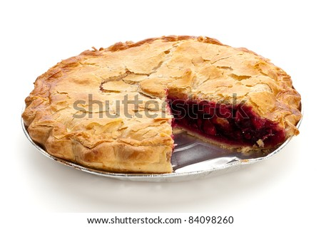 boysenberry and granny smith apple pie with a slice missing