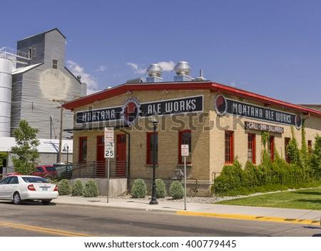 BOZEMAN, MONTANA, USA - JULY 2004: Montana Ale Works, brewery, downtown Bozeman. - stock photo
