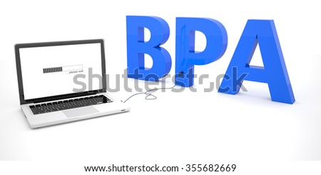 BPA - Business Process Analysis - laptop notebook computer connected to a word on white background. 3d render illustration.