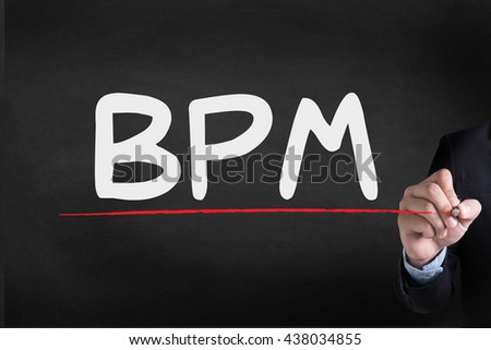 BPM - Business Process Management  Businessman drawing Landing Page on blackground - stock photo