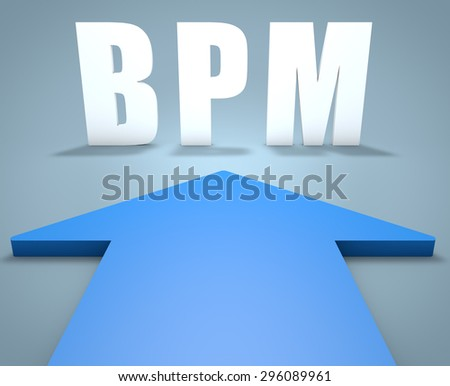 BPM - Business Process Management - 3d render concept of blue arrow pointing to text. - stock photo