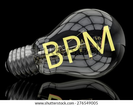 BPM - Business Process Management - lightbulb on black background with text in it. 3d render illustration. - stock photo