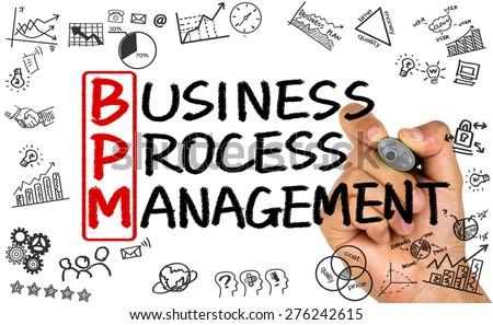 BPM concept:business process management handwritten on whiteboard - stock photo