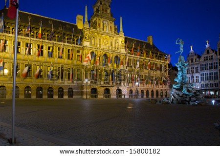 Brabo Fountain and Town hall (1564) at Grote Markt, Antwerp. Belgium - stock photo