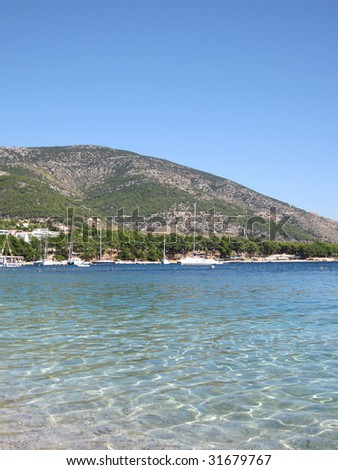 Brac island with clear sea water around, Croatia - stock photo