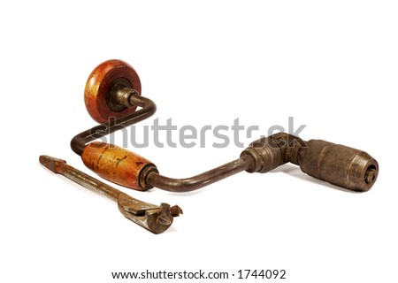 brace and bit, manufactured 1947 - stock photo