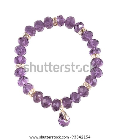 Bracelet glass jewelry isolated on white background - stock photo