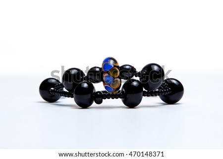 Bracelet with black glass beads