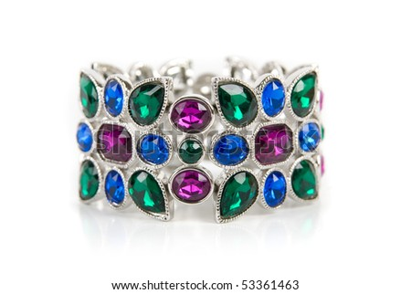 bracelet with color gems isolated on a white background - stock photo