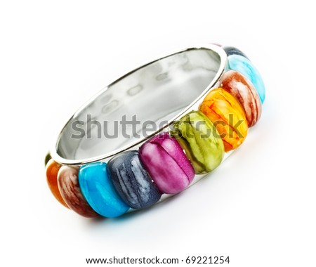 bracelet with color stones isolated on white - stock photo