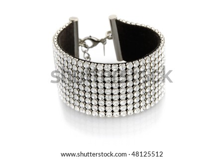 Bracelet with cristals isolated on white - stock photo