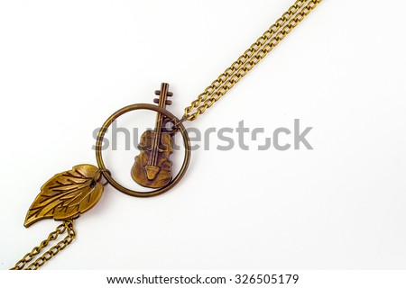 bracelet with  guitar on white background