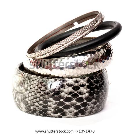 bracelets isolated on a white background - stock photo