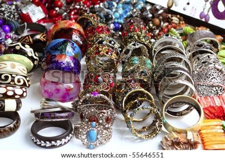 Bracelets jewelry showcase shop bargain fashion - stock photo