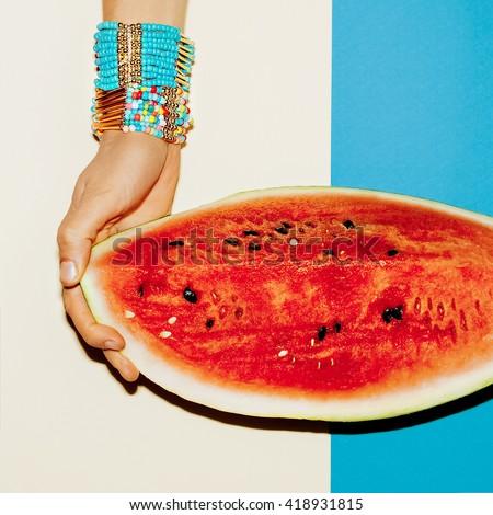 Bracelets Juicy Summer Accessories. Fashion trend. - stock photo