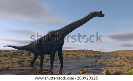 brachiosaurus on river bank - stock photo