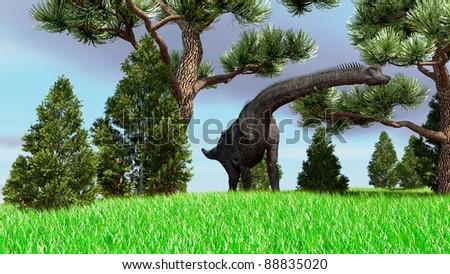 brachisaurus in pine grove - stock photo
