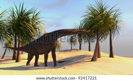 brachisaurus on shore - stock photo