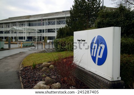 Bracknell, England - January 18, 2015: The Hewlett Packard office in Bracknell, England which serves as their registered company address in the UK. HP was founded in Palo Alto, California in 1939 - stock photo