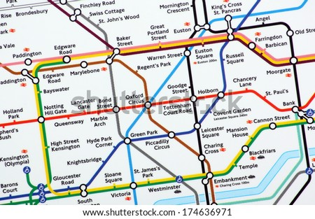 BRACKNELL, UK - FEB 01, 2014: A close up of the main section of the London Underground Map  - stock photo