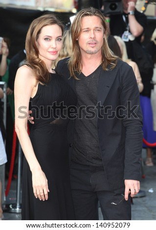 Brad Pitt and Angelina Jolie arriving for the World War Z World Premiere, at Empire Leicester Square, London. 02/06/2013 - stock photo