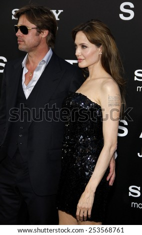"""Brad Pitt and Angelina Jolie at the Los Angeles Premiere of """"Salt"""" held at the Grauman's Chinese Theater in Los Angeles, California, United States on July 19, 2010.  - stock photo"""