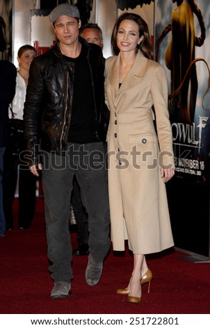 """Brad Pitt and Angelina Jolie attend the Los Angeles Premiere of """"Beowulf"""" held at the Westwood Village Theater in Westwood, California, United States on November 5, 2007. - stock photo"""