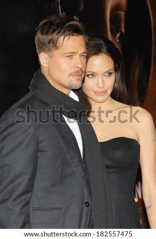 Brad Pitt, Angelina Jolie at New York Film Festival Premiere of THE CHANGELING, Ziegfeld Theatre, New York, NY, October 04, 2008 - stock photo