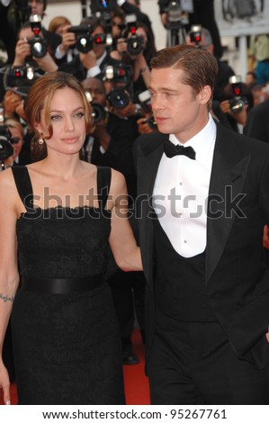 "Brad Pitt & Angelina Jolie at screening for their new movie ""A Mighty Heart"" at the 60th Annual International Film Festival de Cannes. May 21, 2007  Cannes, France.  2007 Paul Smith / Featureflash"
