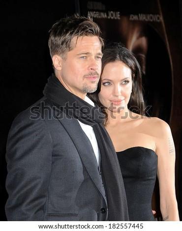 Brad Pitt, Angelina Jolie at Screening of THE CHANGELING at NY Film Festival, The Ziegfeld Theatre, New York, NY, October 04, 2008 - stock photo
