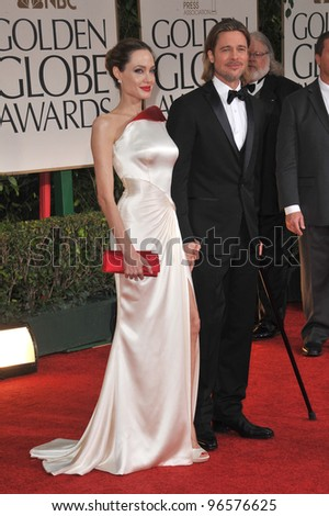 Brad Pitt & Angelina Jolie at the 69th Golden Globe Awards at the Beverly Hilton Hotel. January 15, 2012  Beverly Hills, CA Picture: Paul Smith / Featureflash - stock photo