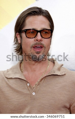"""Brad Pitt at the Los Angeles Premiere of """"Kung Fu Panda 2"""" held at the Grauman's Chinese Theater in Los Angeles, California, United States on May 22, 2011.   - stock photo"""
