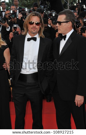 "Brad Pitt & Ray Liotta at the gala screening of their new movie ""Killing Them Softly"" in competition at the 65th Festival de Cannes. May 22, 2012  Cannes, France Picture: Paul Smith / Featureflash - stock photo"